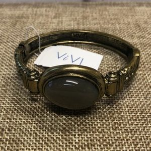 ViVI hinge bracelet antique gold taupe stone! NWT